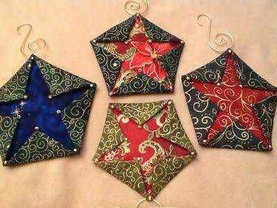 Star: Folded Fabric Pentagon Christmas Ornament step-by-step tutorial - Star: Folded Fabric Pentagon Christmas Ornament Step-by-step