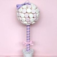 How to make a sweet tree;DIY ruffled 1 tier cakestand;paper candy cone; cake journal : crafty decorations