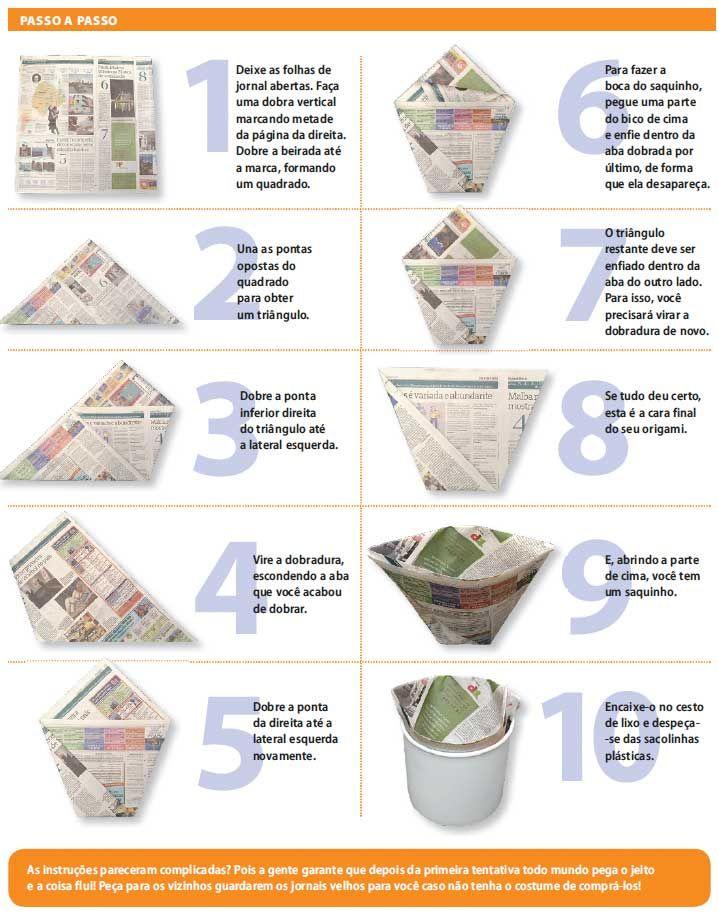 Sacos Do Lixo Feitos Com O Jornal De Ontem Com Imagens Saco Do