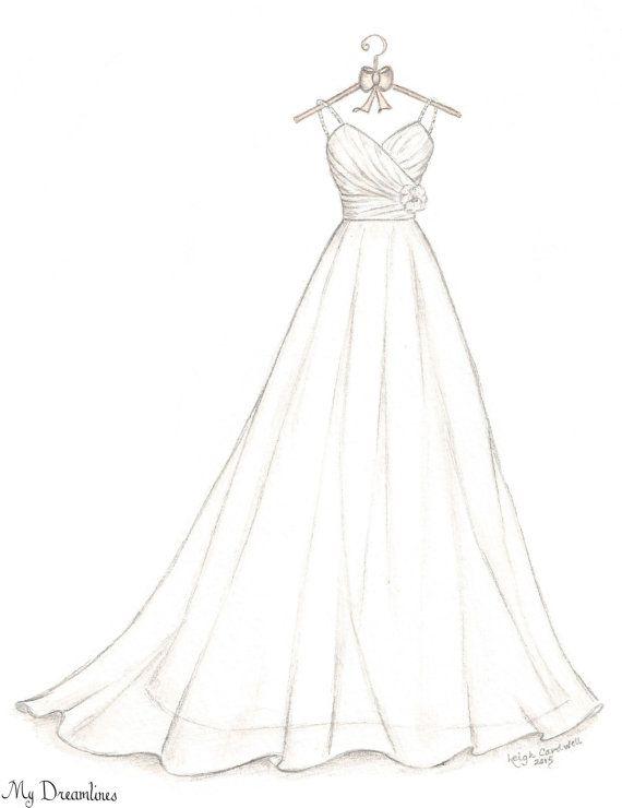 e61fbeae185 Wedding Dress Sketch Bridal Shower Gift Wedding by Dreamlines
