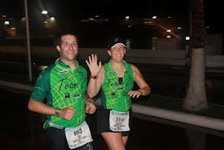 Ron and I running the last leg of our 140.6 mile Ironman together!