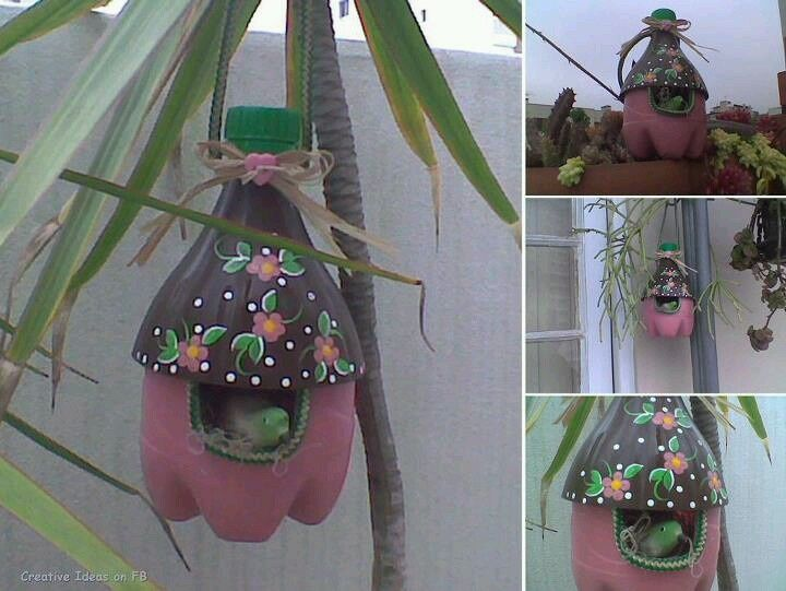 Bird House Made Out Of A 2 Liter Bottle Crafts Pinterest Bottle Crafts Homemade Bird Houses Recycle Plastic Bottles