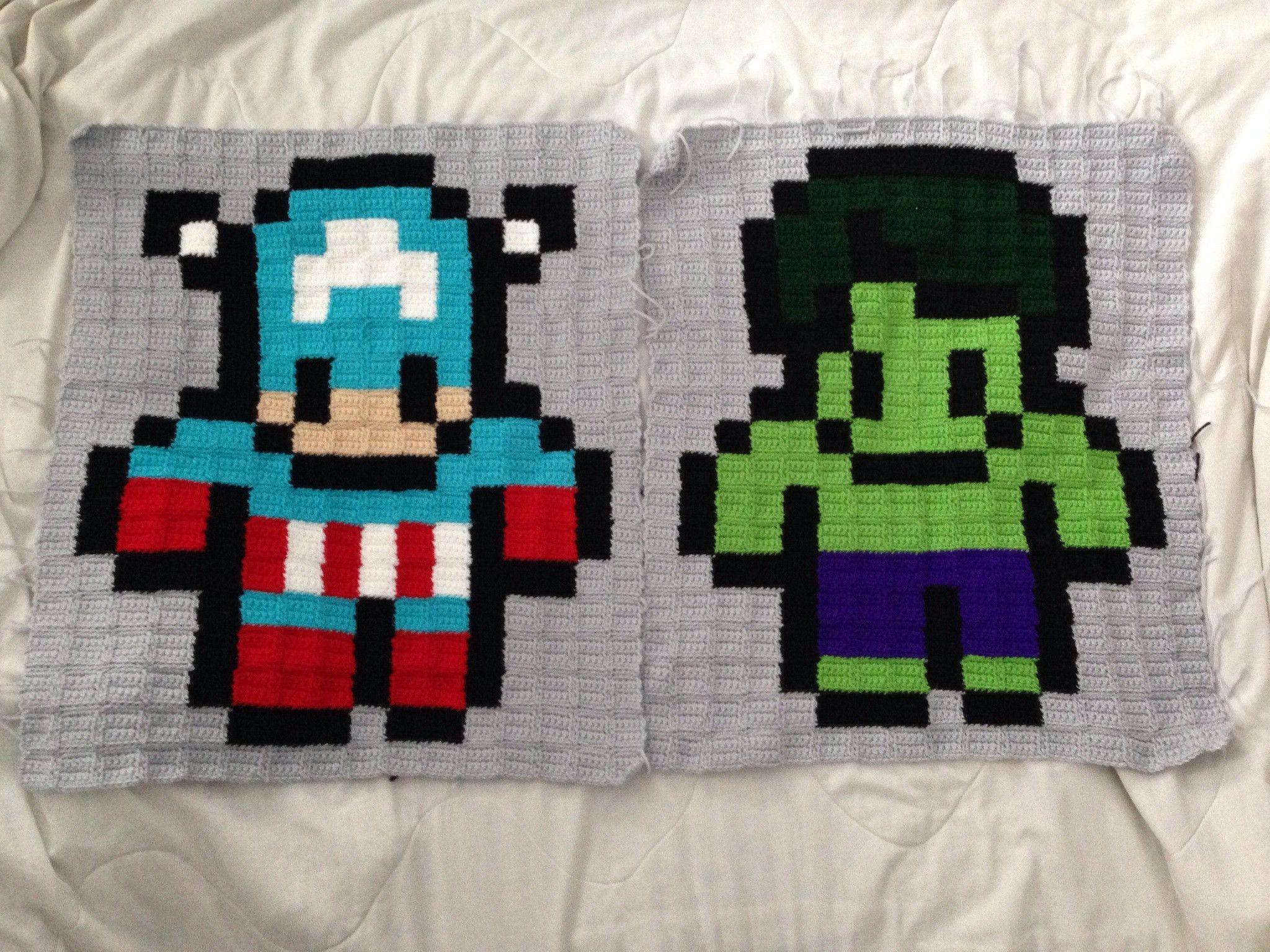 Wipupdatemarvel avengers 8 bit afghan pixel crochet afghan marvel avengers captain america and hulk pixel crochet 8 bit afghan rugs bankloansurffo Images
