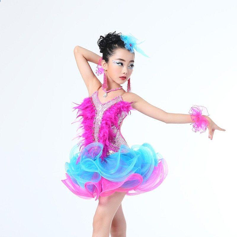 Děti Profesionální latinské taneční šaty pro dívky Ballroom Dance soutěž  Šaty děti Moderní valčík   tango   Cha Cha kostýmy 951135728f