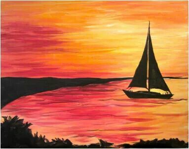 Easy Painting Idea Sail Boat Silhouette On The G Painting