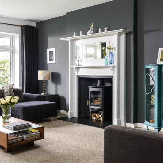 Take a tour of this 1960s house in yorkshire living - Grey living room walls ...