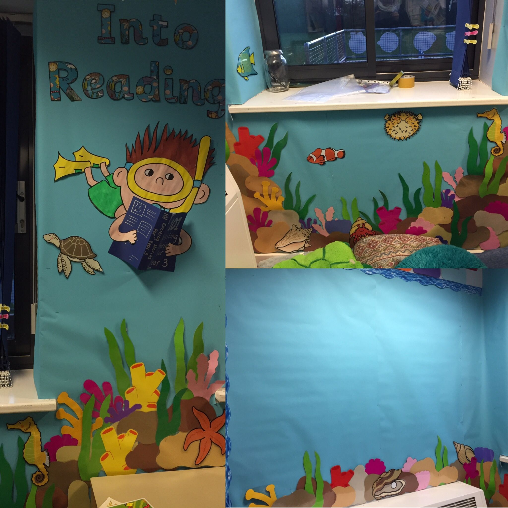 Dive into reading under the sea themes reading corner for for Space themed book corner