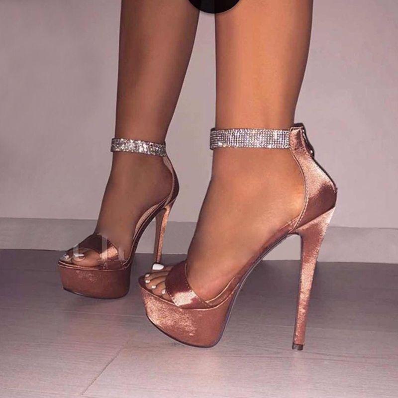 Shoespie Beaded Heel Heel Covering Zipper Platform Sandals
