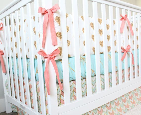 Coral, Mint And Gold Bedding, Custom Crib Bedding, Baby