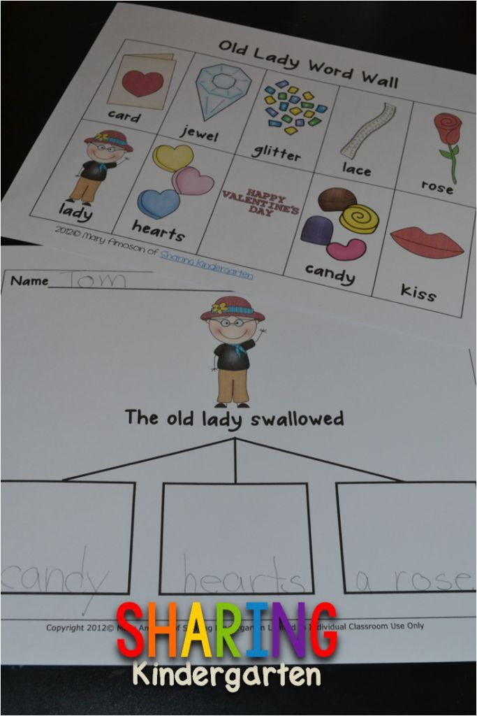 There Was an Old Lady Who Swallowed a Rose Freebie - Sharing Kindergarten