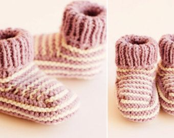 Organic Cotton Hand Knitted Baby Booties - Edit Listing - Etsy