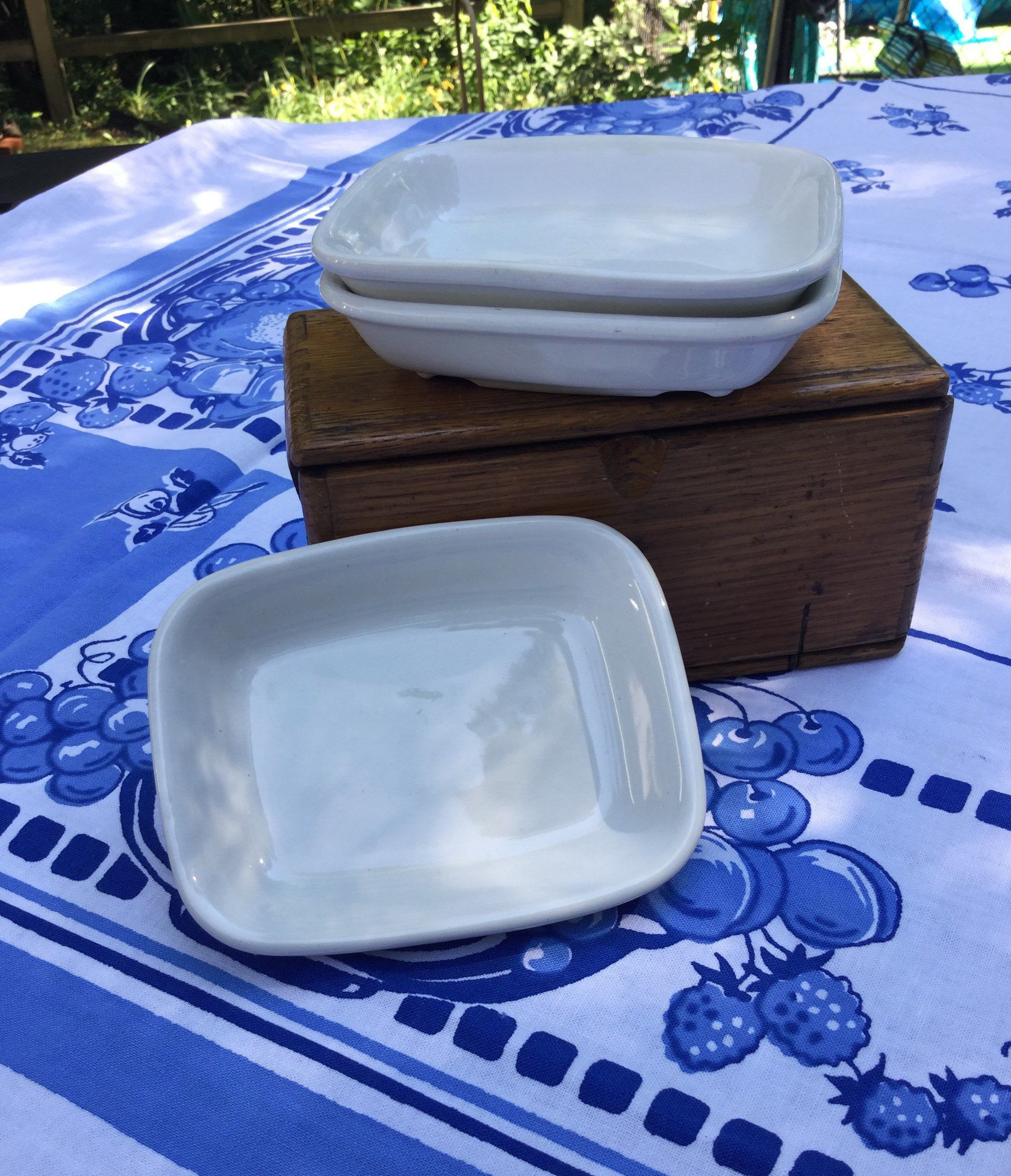 """Excited to share this item from my #etsy shop: Vintage Hall Soapdish - Ironstone White 4x5""""."""