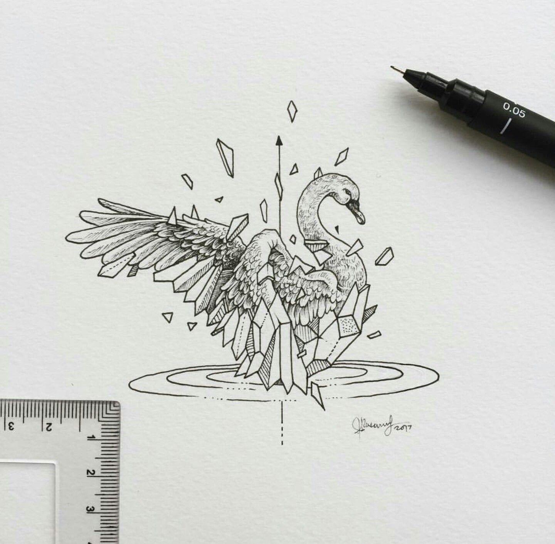 Geometric beast swan geometric beast pinterest dessin animaux geometrique et tatouages - Tatouage geometrique animaux ...