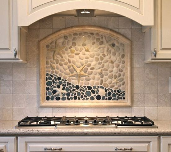 Beach tile art for bathrooms and kitchens inspired from for Custom mosaic tile mural
