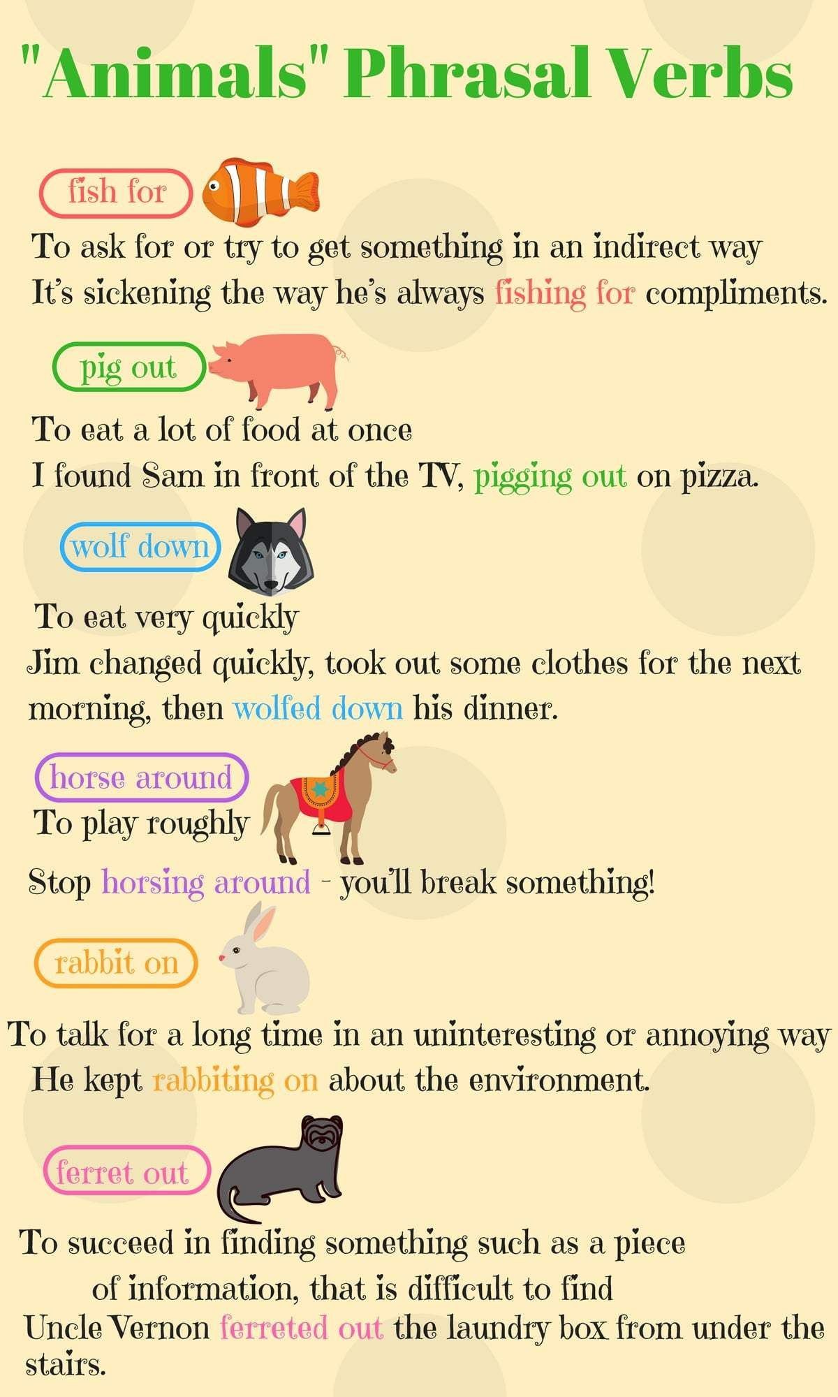 Animals Phrasal Verbs In English With Meanings Examples Eslbuzz Learning English English Verbs English Idioms Learn English Words