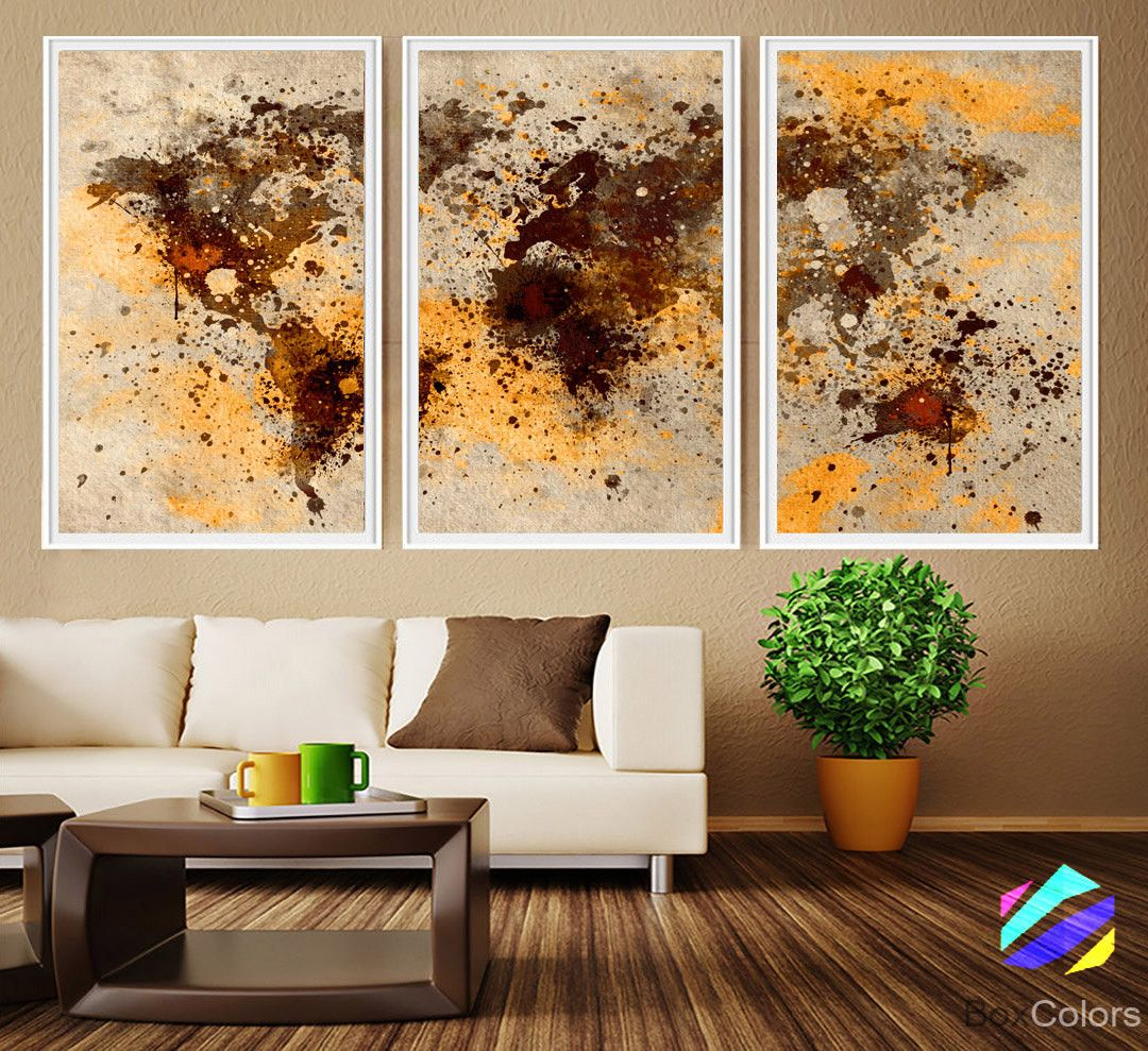 Xl 3 panels poster world map art print photo paper abstract xl 3 panels poster world map art print photo paper abstract watercolor brown beige wall decor gumiabroncs Gallery
