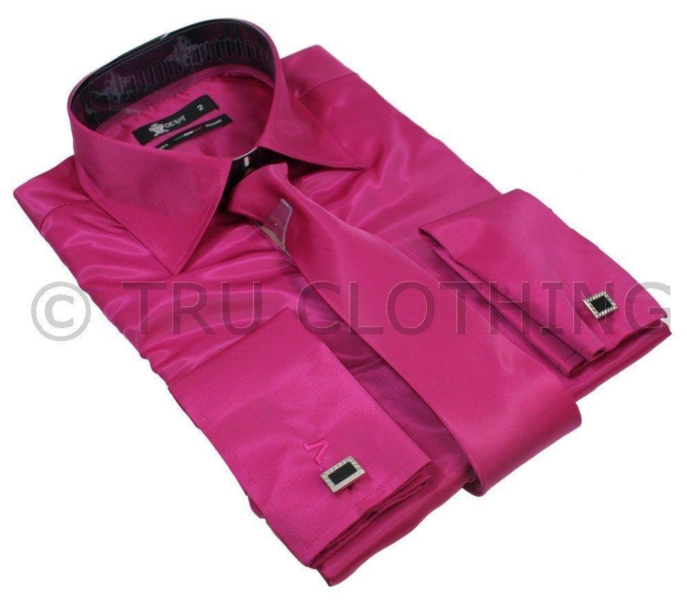 Mens Italian Design Fuschia Pink Silk Satin Finish Double Cuffed