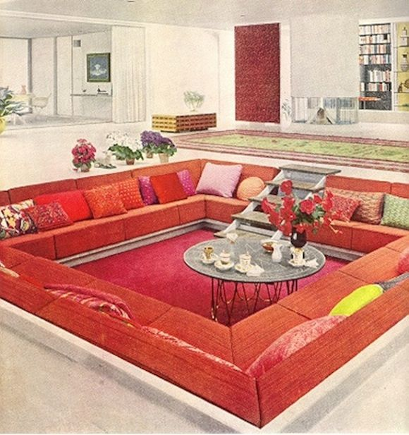 1960s Interior Design | Vintage Retro 1960s Interior Design Lounge  Conversation Pit