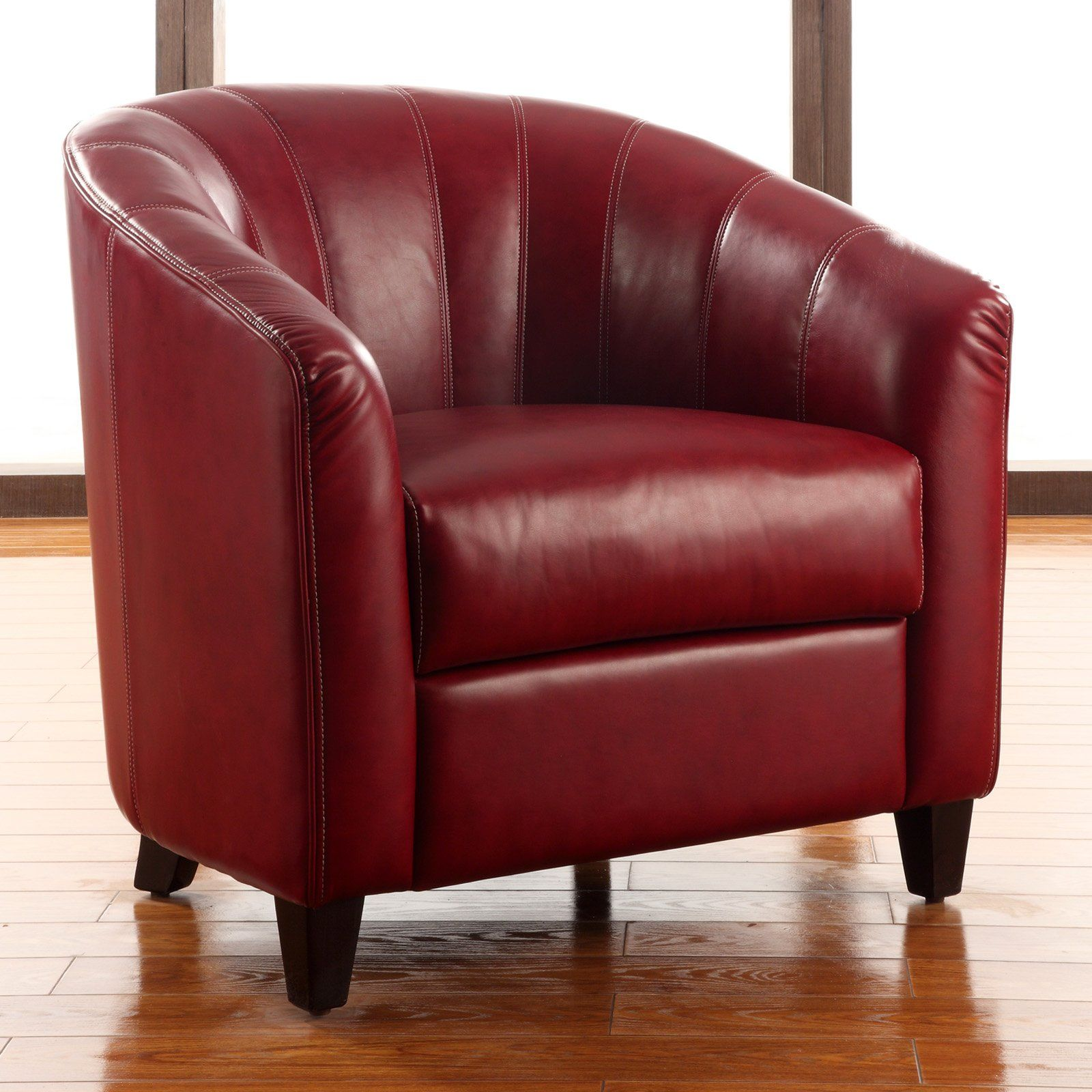 Best Hayneedle Hadley Faux Leather Accent Chair Burnt Red 400 x 300