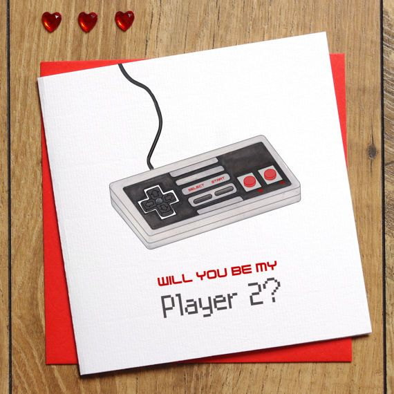 player 2 valentines card anniversary card will you be my player 2