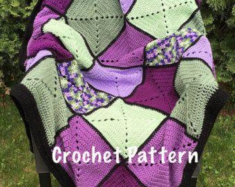 Couverture au Crochet gris et turquoise Basic par DapperCatDesigns