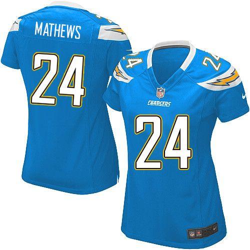 Womens Nike San Diego Chargers #24 Ryan Mathews Elite Alternate Light Blue Jersey$109.99
