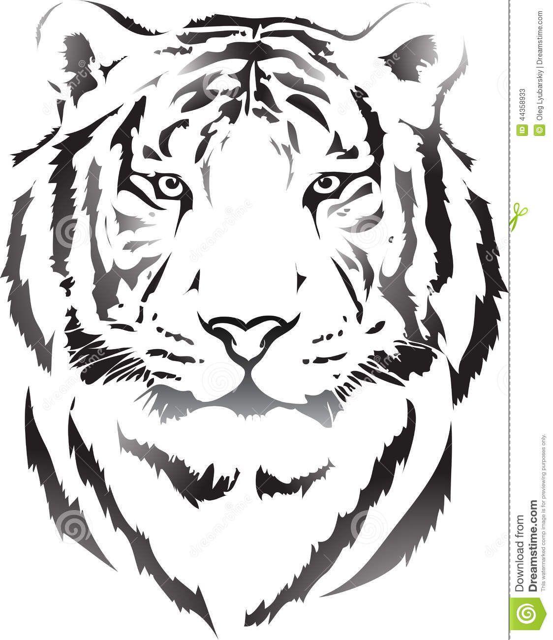 Illustration About Tiger Head In Black Interpretation With