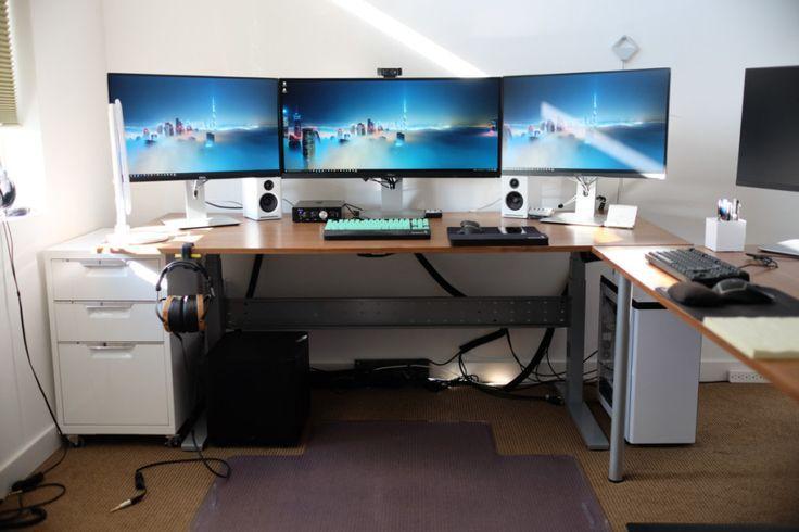3 screens white minimal setup desk productivity - Google ...