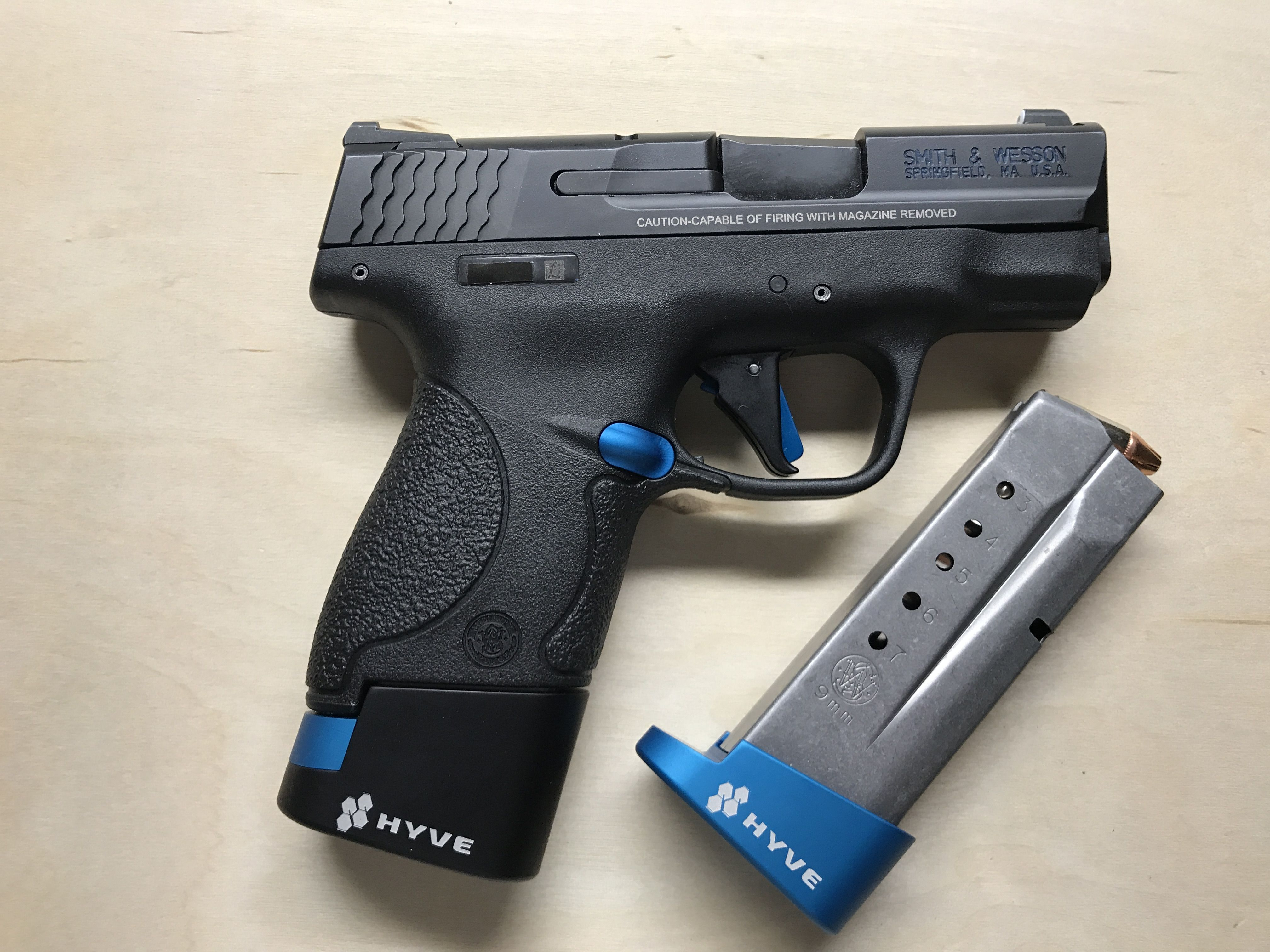 Smith and Wesson Shield 9mm with +1 and +2 Hyve magazine Base plates