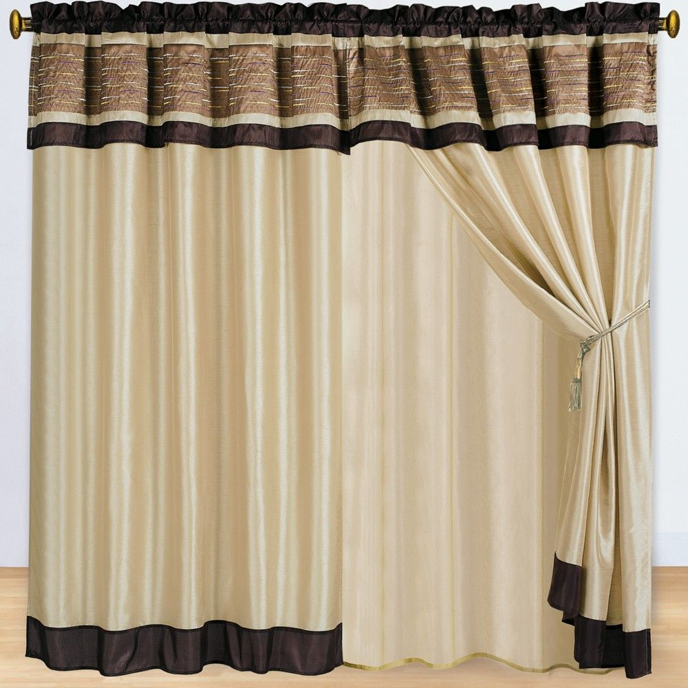 sonata coffee window curtains 2 panels 60x84 with valance. Black Bedroom Furniture Sets. Home Design Ideas