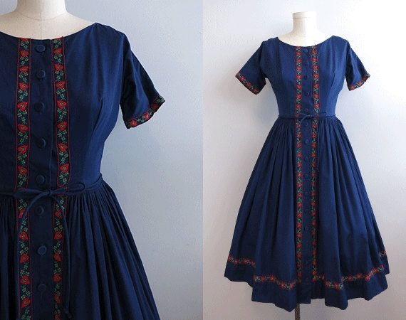 Vintage 1950s Day Dress / Navy Cotton Day Dress with Red Trim Full Skirt. $96.00, via Etsy.