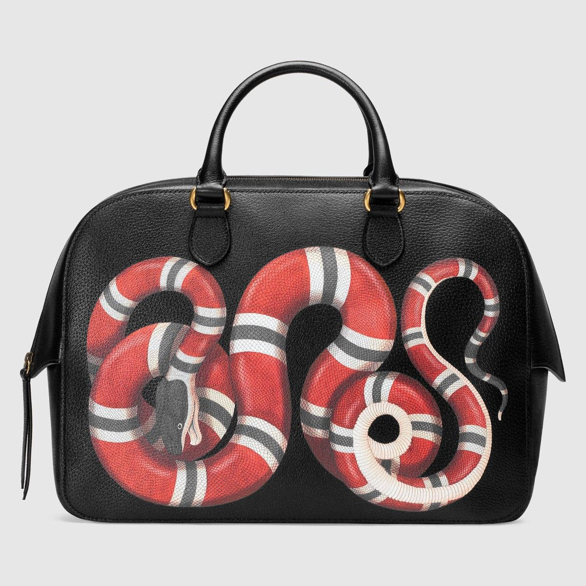 615854a38a8 GUCCI Snake Print Leather Duffle - Black Leather.  gucci  bags  hand bags   suede  lining