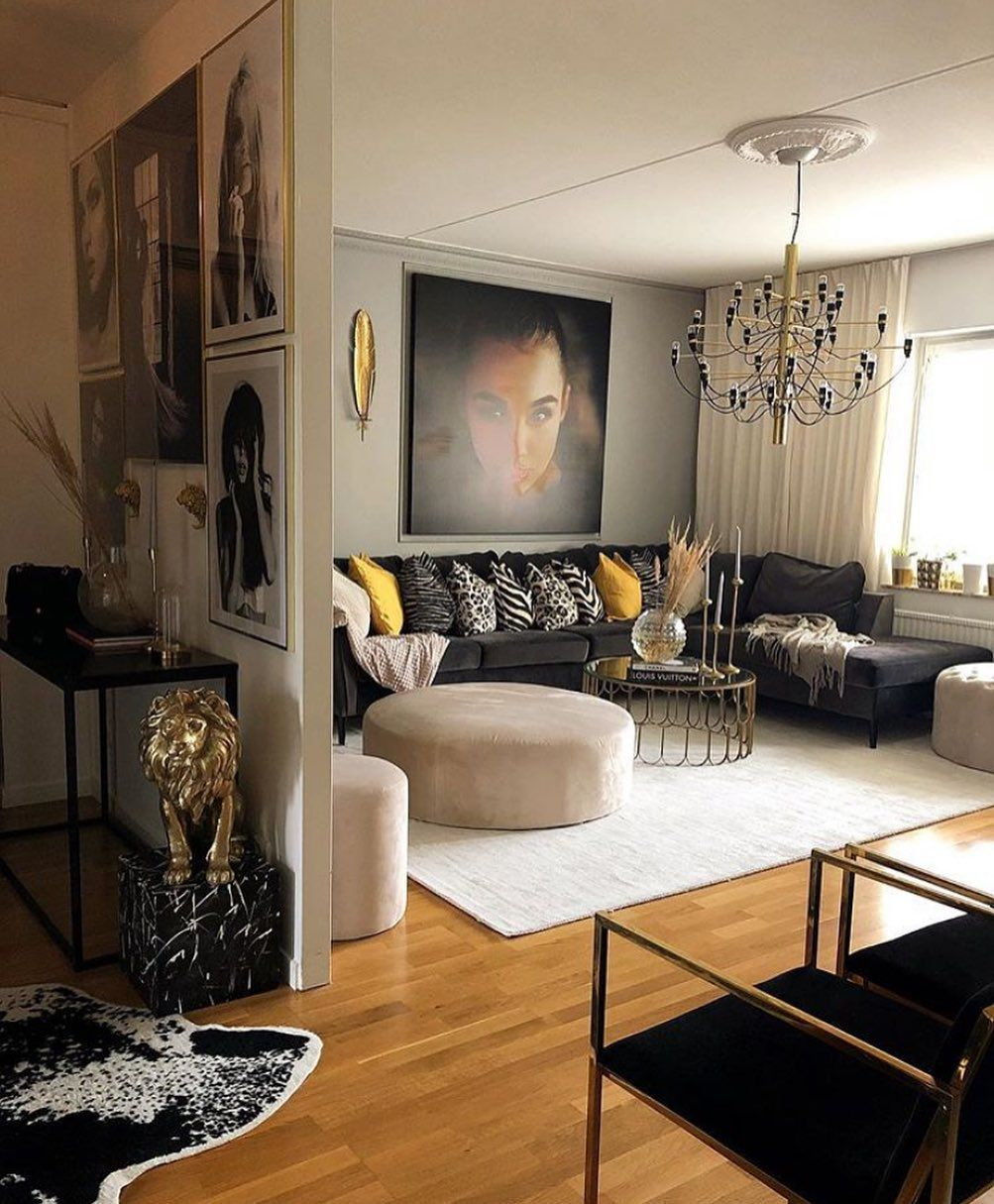 Living Room Inspiration How Black Can Highlight The Features In The Interior Beige And Black Beige Living Rooms Warm Living Room Colors Dark Living Rooms Inspire me home decor living room gif