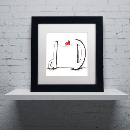 Trademark Fine Art D is for Dog Canvas Art by Carla Martell, White Matte, Black Frame, Size: 16 x 16