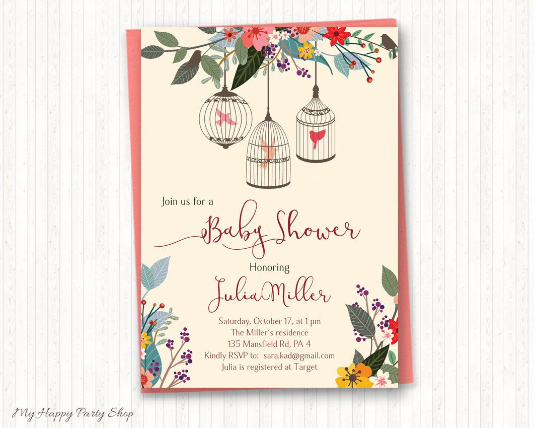 Birds baby shower invitation colorful birds invitation
