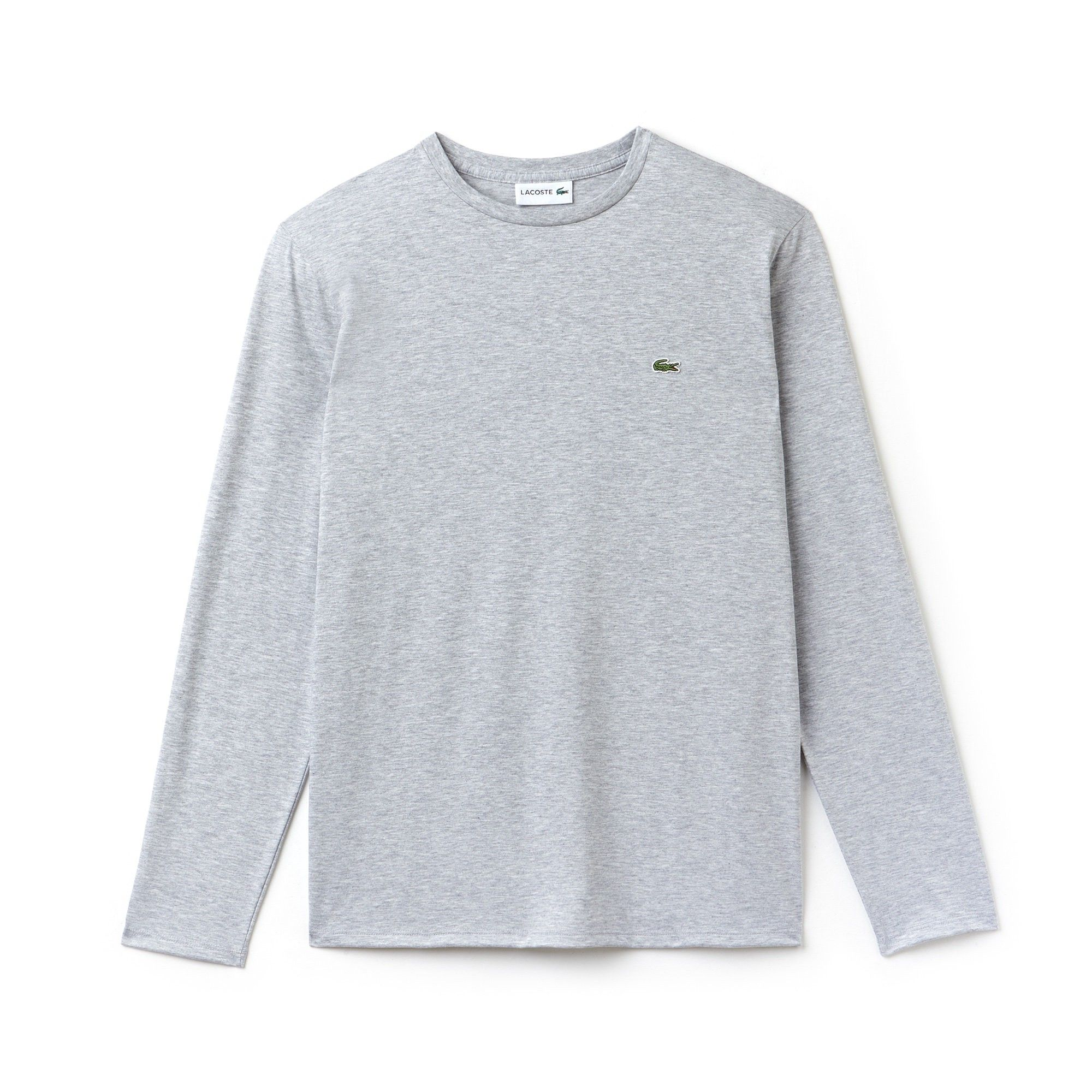 b861a35dcd9f0 LACOSTE Men s Crew Neck Pima Cotton Jersey T-shirt - silver grey chine.   lacoste  cloth