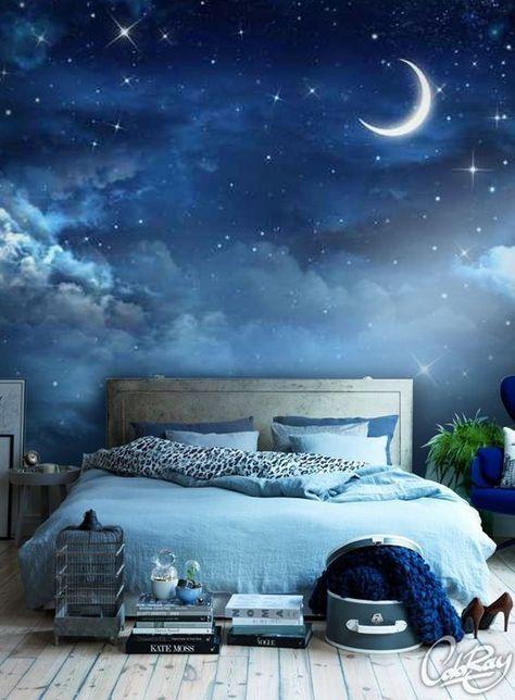 Eine super Idee für ein Schlafzimmer! Wir lieben diese Vinyltapete ...