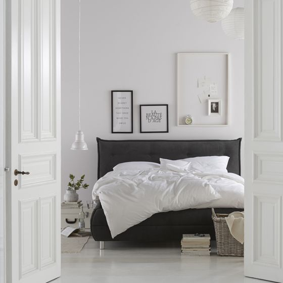 Namast´ay in bed - schwarz-weiß Look im Schlafzimmer lädt zum - schlafzimmer creme braun schwarz grau