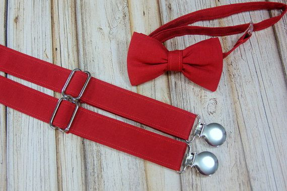 ffe1191e23ae Rich Red Deep Cherry Red Bow Tie and Suspenders set Similar Davids Bridal  Cherry (Men, boys, baby,