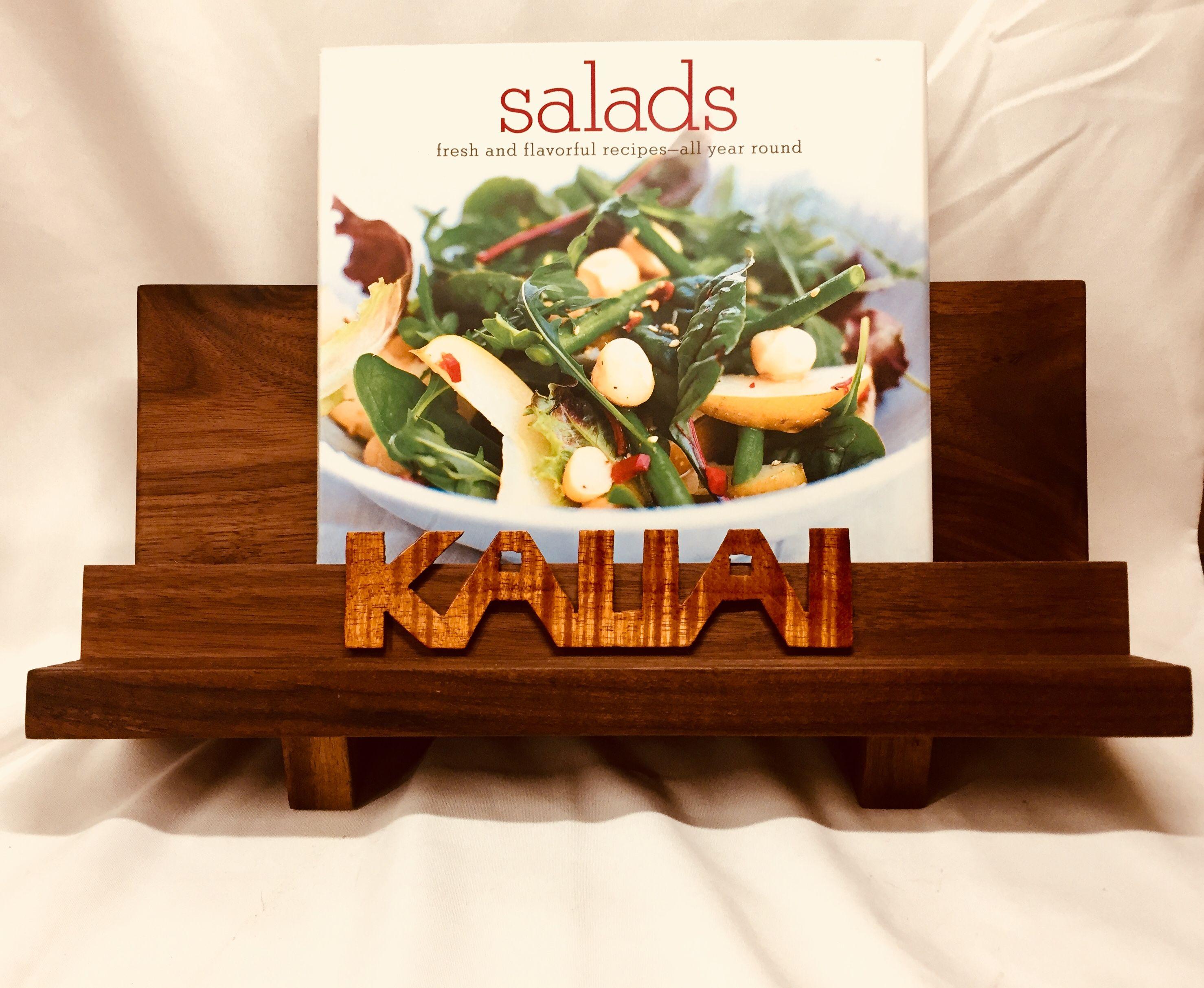 Cookbook Stand With Adjusts To Thickness Of Cookbook Black Walnut Koa Wood Cook Book Stand Koa Wood Kitchen Items