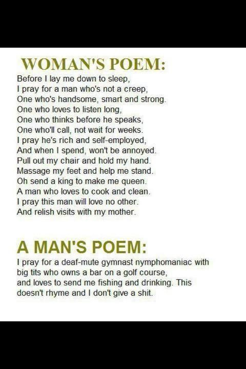 Funny poems about men shall