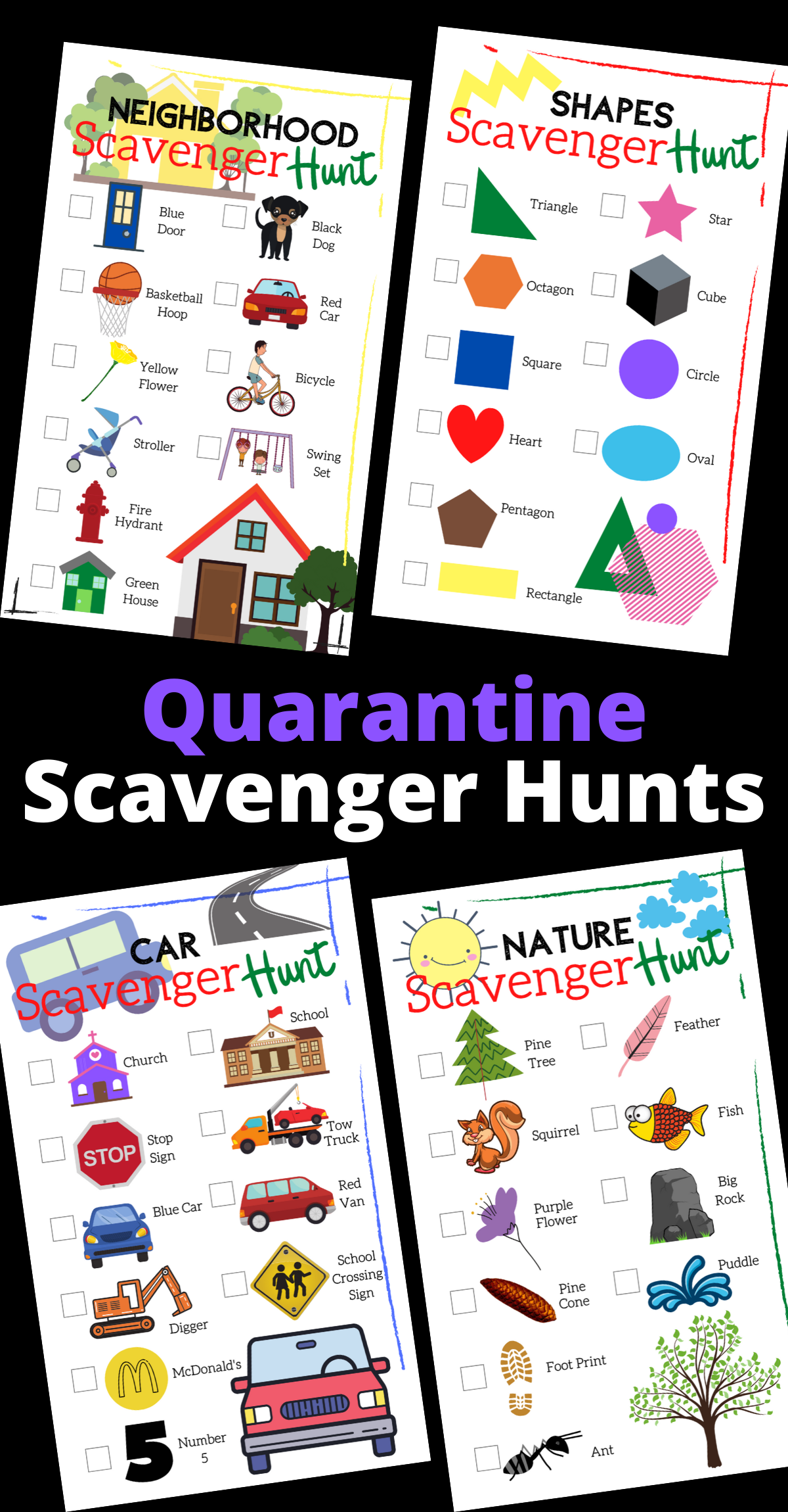 Neighborhood Nature Car Ride Amp Shape Scavenger Hunts