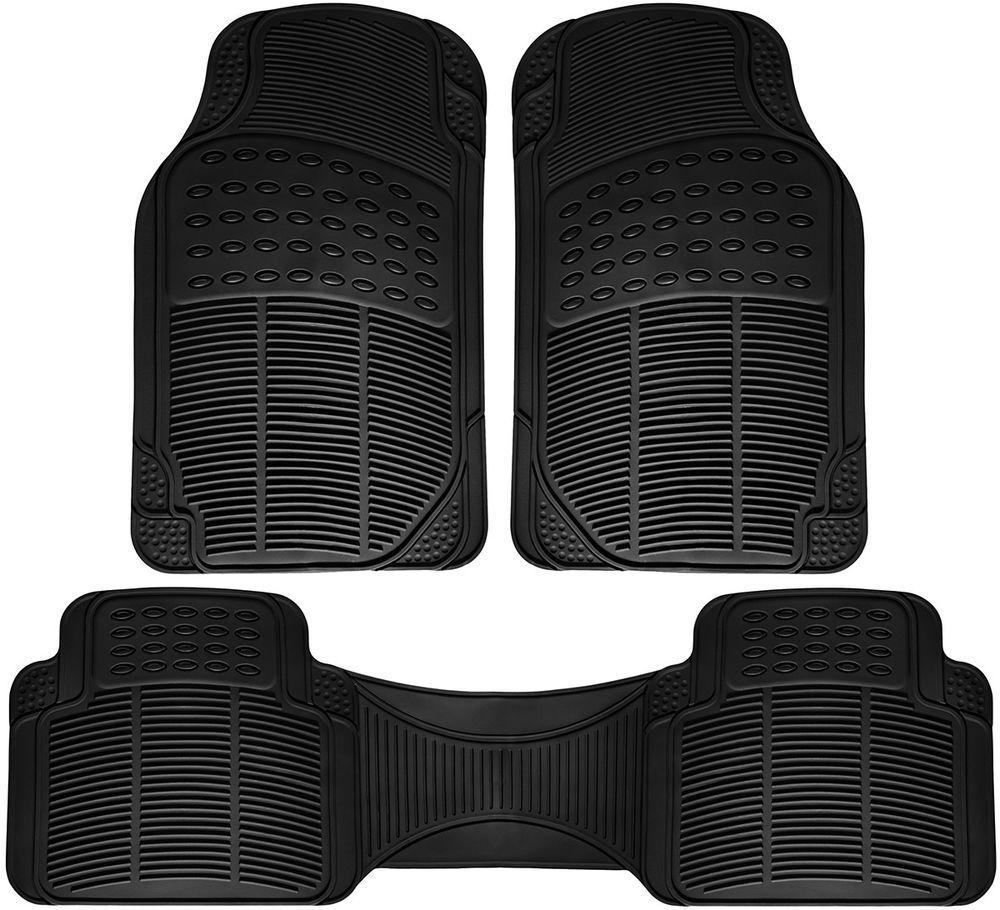 Motor Trend Weather-Free Rubber Mats Car Truck w// Cargo Semi Custom Fit Black