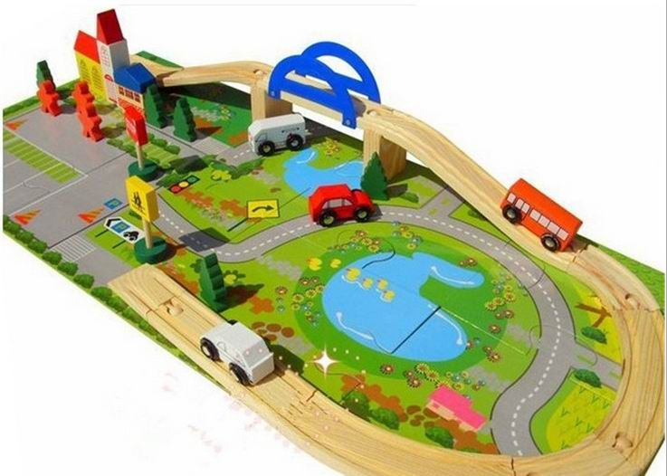 (Buy here: http://appdeal.ru/1ajq ) 40 PCs children wooden vehicle blocks toys / Kids Child rail overpass with car track house wooden assemble blocks, free shipping for just US $45.00