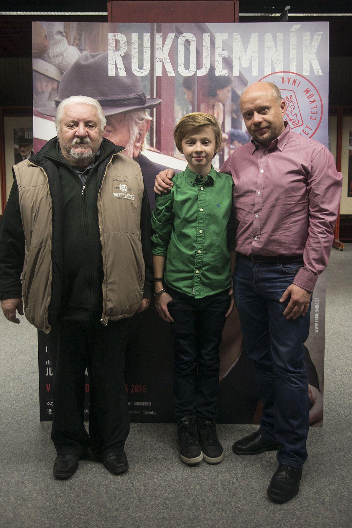 Tri herecké generácie pohromade - zľava: Marián Labuda st., Richard Labuda a Marián Labuda ml.