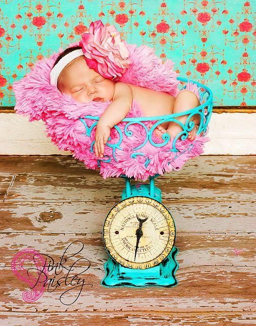 Pink and Aqua Newborn (Pink Paisley)