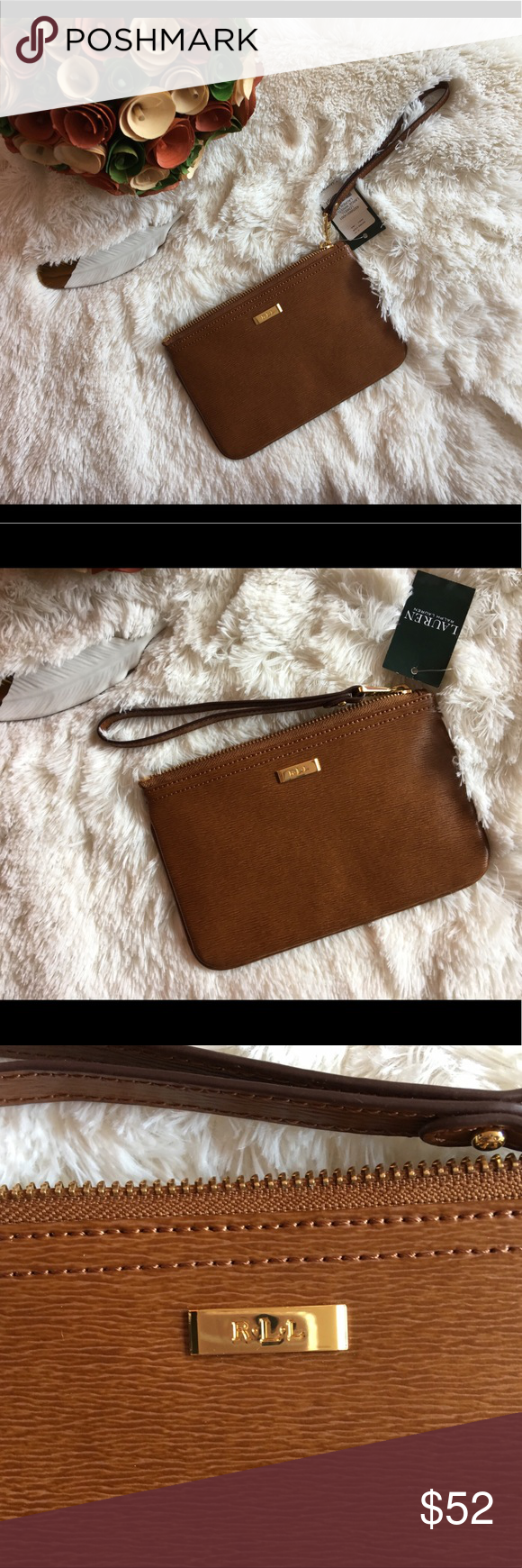 c586a7b16ce Ralph Lauren Large Brown Wristlet Classy and quality Brand New large  wristlet from RLL. Material 100% cow leather. Features a small pocket.