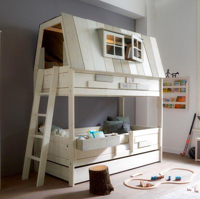 Cameretta Hangout letti a castello in legno massello bianco   Kids ...