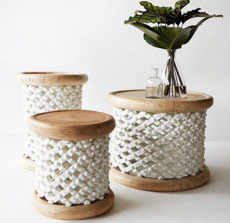African bamileke stool coffee table originally handmade