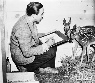 Panel Peek: A rare picture of Walt using nature as inspiration for Bambi.